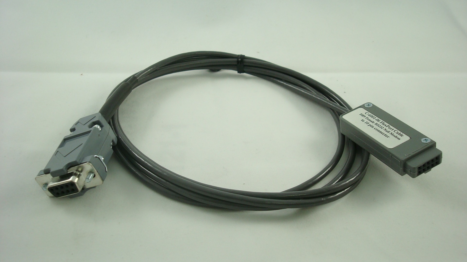 C-6051-06 RS232 DB9 Female Null Modem without Handshaking to 10 pin connector (6 ft)